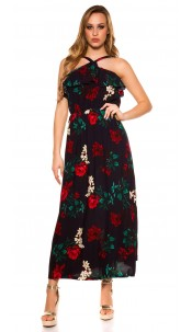 Sexy maxi dress with flounce flowers print Navy