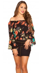 Sexy off shoulder shirt with flounce Black