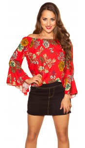 Sexy off shoulder shirt with flounce Red