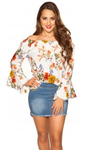 Sexy off shoulder shirt with flounce White