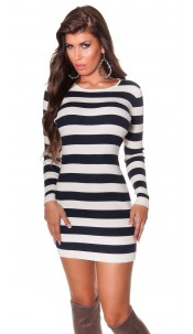 Sexy knit mini dress/longjumper striped Navy