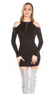 Sexy blote schouder geribde gebreide jurk met studs zwart