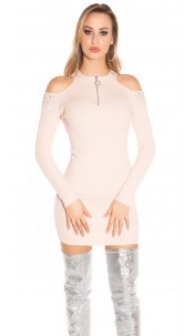 Sexy Cold Shoulder Ripp knit dress with studs Pink