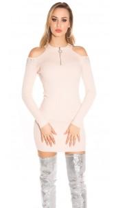 Sexy blote schouder geribde gebreide jurk met studs roze