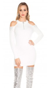 Sexy Cold Shoulder Ripp knit dress with studs White