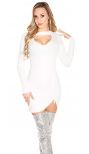 Sexy V-cut knit dress with rhinestone zipper White