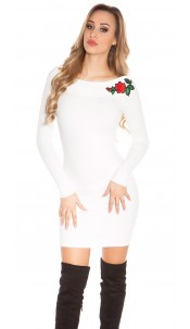 Sexy rib knit dress with flower patch White