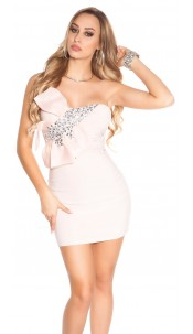 Sexy KouCla mini dress with bow and stones Antiquepink