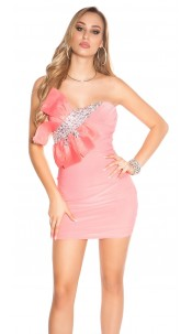 Sexy KouCla mini dress with bow and stones Coral