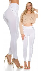 Sexy KouCla High Waist Treggings with lacing White