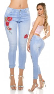 Sexy Skinny Jeans with embroidery + rivets + beads Jeansblue