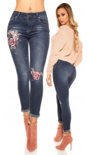 Sexy skinny jeans with beads and embroidery Jeansblue