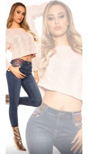 Trendy skinny jeans with sequins and embroidery Jeansblue