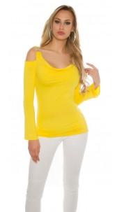 Sexy KouCla Coldshoulder longsleeve w. rhinestones Yellow