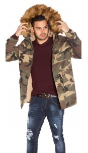 Trendy Mens Winterjacket Camouflage Army