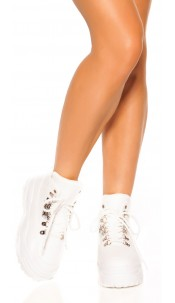 Trendy Plateau Sneakers White