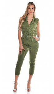 Sexy satin look jumpsuit with drawstring Khaki