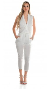 Sexy satin look jumpsuit with drawstring White