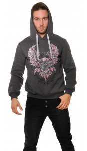 Trendy hoodie with eagle print Anthracite