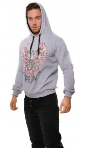 Trendy hoodie with eagle print Grey