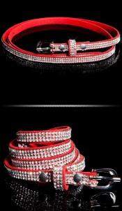 Trendy belt with rhinestones Red