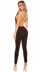 Sexy It S PaRTy TiMe jumpsuit with back chains Black