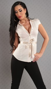 Sexy blouse with satin-belt Beige