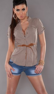Sexy KouCla shortsleeve blouse with belt Cappuccino