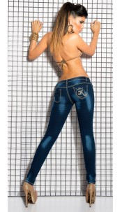 Sexy KouCla Skinny-Jeans with thick sewing Jeansblue
