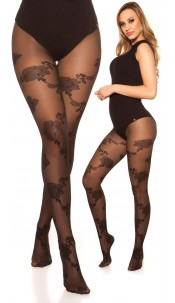 Sexy tights with floral pattern Black