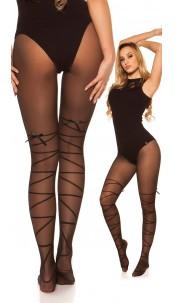 Sexy tights with bondage optics Black