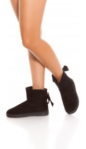 Trendy winter ankle boots lined Black