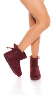 Trendy winter ankle boots lined Bordeaux