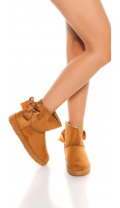 Trendy winter ankle boots lined Caramel