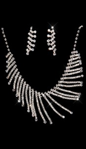Elegant rhinestone-Collier-set Silver