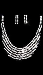 Sexy set of rhinestone necklace + earrings Blacksilver
