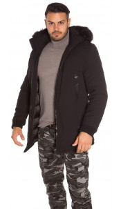Trendy men s winter jacket with fake fur Black
