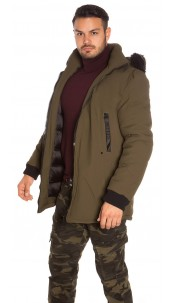 Trendy men s winter jacket with fake fur Khaki