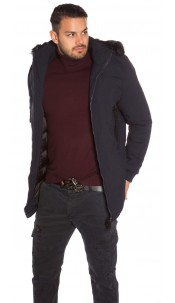Trendy men s winter jacket with fake fur Navy