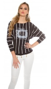 Trendy sweater striped with print & rivets Navy