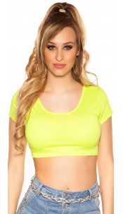 Sexy Basic Crop Shirt Neonyellow