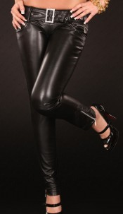 Sexy Skinnies in Leatherlook with rhinestonebuckle Black