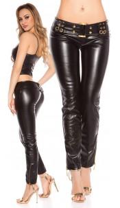Sexy lowcut Skinnypants in Leatherlook Black