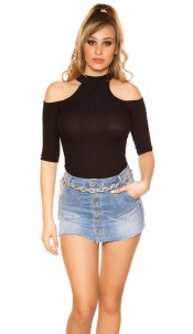 Sexy Cold Shoulder Shirt Black