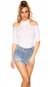 Sexy Cold Shoulder Shirt White