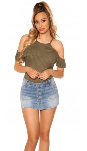 Sexy coldshoulder ribbed top Khaki