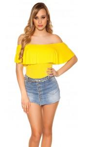Sexy Basic Off Shoulder Shirt Yellow