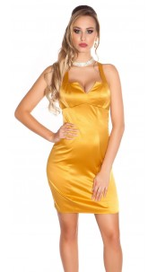 Sexy Cocktail-Neck-Minidress Gold