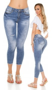 Sexy 7/8 Skinny Jeans Low Used Look Jeansblue