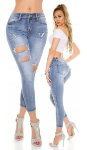 Sexy jeans with cut-outs and fake beads Jeansblue
